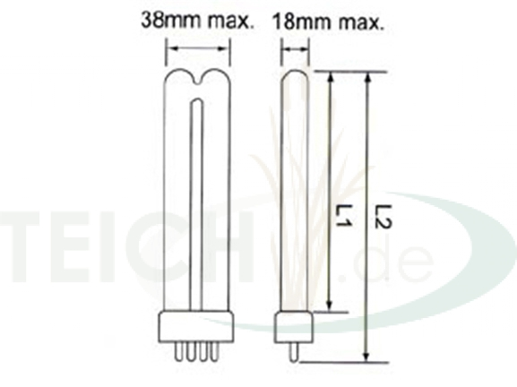 Quarzglas Oase Bitron 18C Philips UVC Ersatzlampe 18 Watt Dichtung Quarzglas